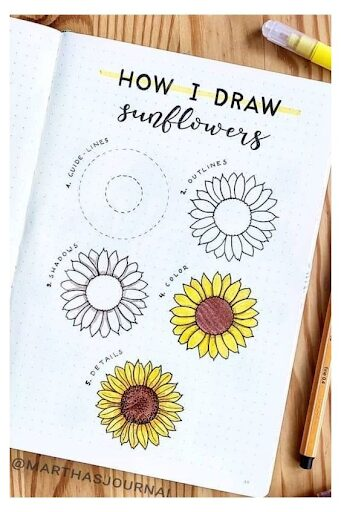 How to draw Sunflowers for Floral Bullet Journal Themes
