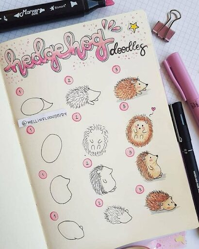 How to draw Hedgehogs for Bullet Journal Themes