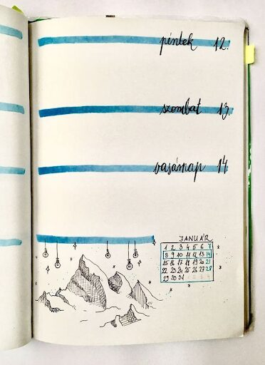 Simple Winter Mountains Bullet Journal Theme