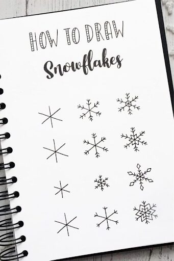 How to draw snowflakes for winter bullet journal themes