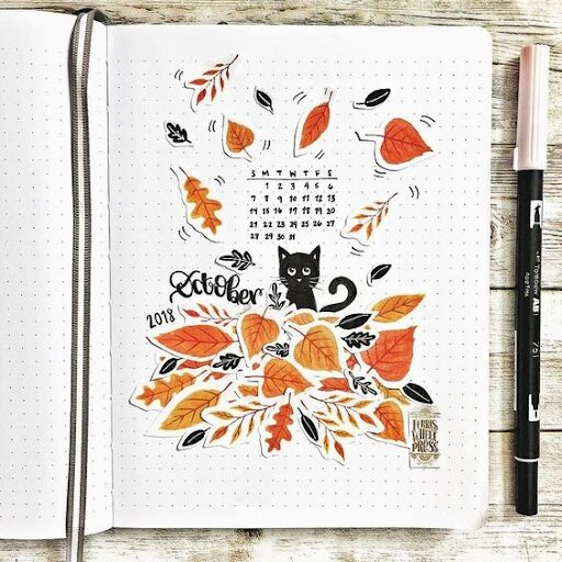 October Bullet Journal Theme using stickers